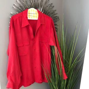 EQUIPMENT red silk button down shirt large